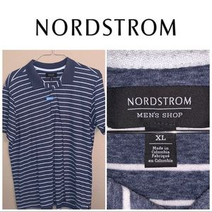 XL Nordstrom Navy-White Striped SS Polo